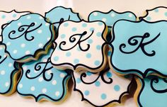Polka Dot Monogram Sugar Cookies by LaPetiteCookie on Etsy Baby Cookies, Sugar Cookies, Monogram Cookies, I'm Pregnant, Polka Dots, Birthday Parties, Party, Desserts, Etsy