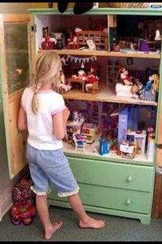 Dresser turned into dollhouse