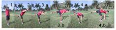 EL AVESTRUZ.  Empezamos como muestra la figura 1. Nos vamos inclinando hacia adelante, Fig 2. Hasta alcanzar una linea horizontal, Fig. 3a. y 3b. Una vez en esa posición intentamos tocar el pié con la mano contraria. Fig 4a. y 4b. Este ejercicio estirará los músculos posteriores de la pierna, al tiempo que nos ayudará a mejorar el equilibrio.