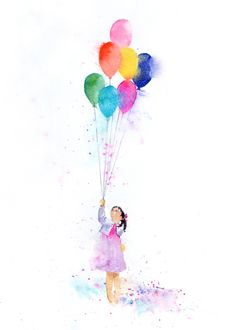 Leading Illustration & Publishing Agency based in London, New York & Marbella. Balloon Painting, Love Painting, Painting & Drawing, Watercolor Cards, Watercolor Illustration, Watercolor Paintings, Happy Paintings, Rainbow Art, Art Projects