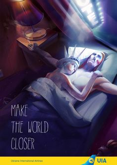This blasphemous poster for Ukraine International Airlines -- which shows New York's Statue of Liberty in bed with Rio's Christ the Redeemer -- is causing a kerfuffle on some blogs. (The joke is that the pair are in a long-distance relationship, solved by the airline.)   But don't get too annoyed. It turns out the ad was not commissioned by the airline, and was a piece of speculative work designed to attract attention to the work of creative director Aleksandr Bozhko.