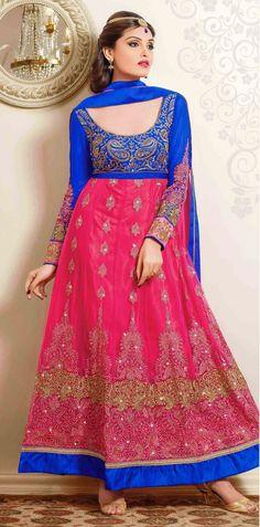 USD 54.11 Magenta Net Anarkali Salwar Kameez 44420