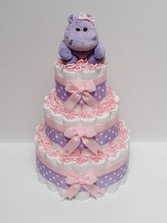 Pink Purple Hippo Diaper Cake Baby Shower by LanasDiaperCakeShop