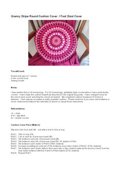 Granny Stripe Round Cushion Cover or Foot Stool Cover.  Free crochet pattern.