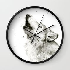 Wolf Howling Watercolor Animals Wildlife Painting Animal Portrait Wall Clock