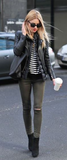 casual stripes leather | Vogue Blogger | Street styles |
