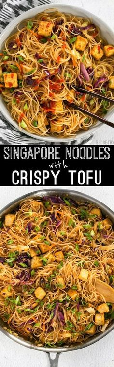 These Singapore Noodles with Crispy Tofu have a bold flavor and vibrant colors thanks to shredded vegetables and a bright curry sauce. #noodles #vegetarian #vegetarianrecipes #easyrecipes