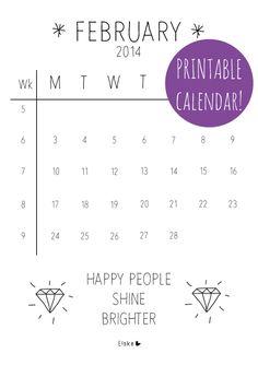 Need to get a calender! February - printable calendar | Elske | www.elskeleenstra.nl