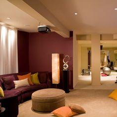 teen hangout :: view 1 of 4 Home Gym Design, Condo Design, Interior Design, Wall Design, Interior Paint, Basement Wall Colors, Burgundy Walls, Modern Basement, Basement Gym