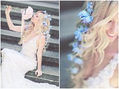 Fresh blue flowers hair style for long-haired brides. Wedding hair