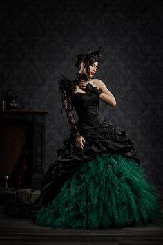 Extravagant bridal wear and fancy ball gowns. Extravagant bridal wear and fancy ball gowns. Designer bridal wear and Gehröcke wedding. Black Wedding Gowns, Beautiful Wedding Gowns, Designer Wedding Gowns, Wedding Suits, Steampunk Wedding, Gothic Wedding, Bridal Outfits, Bridal Gowns, Groom Outfit