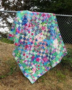 Cloudy days are for taking quilt pics, so here you go! I finished this right about the time the sun here started burning up the sky for… Scrappy Quilts, Baby Quilts, Quilting, Picnic Blanket, Outdoor Blanket, Nine Patch Quilt, Flower Quilts, Cloudy Day, Quilt Blocks