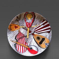 Piero Fornasetti A Piero Fornasetti Strumenti Musicali Porcelain Plate Number 4 in Series