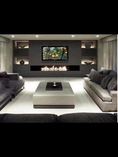 64 Idea Decorating A Narrow Living Room Layout With A Fireplace And Tv 14 - Home Sweet House Design, Luxury Living Room, Modern Room, Room Design, Living Room With Fireplace, Living Room Modern, House Interior, Living Room Design Modern, Living Room Tv Wall
