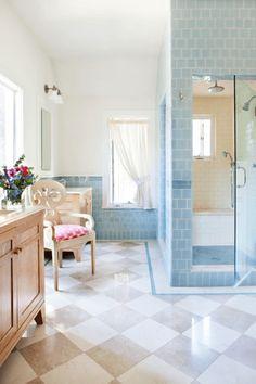 House of Turquoise: Alison Kandler Interior Design Lavabo / Baño / Bany / Bath / Toilette Duck Egg Blue Bathroom, Architecture Design, Cottages And Bungalows, House Of Turquoise, Damier, Laundry In Bathroom, Bathroom Basin, Traditional Bathroom, Bath Design