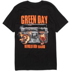 Green Day Revolution Radio Album T-Shirt Hot Topic ($21) ❤ liked on Polyvore featuring tops, t-shirts, shirts, green t shirt, tee-shirt, cotton shirts, cotton tees and shirt top