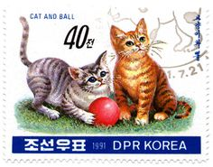 North Korea 1991 Cat Stamps - Cat and Ball