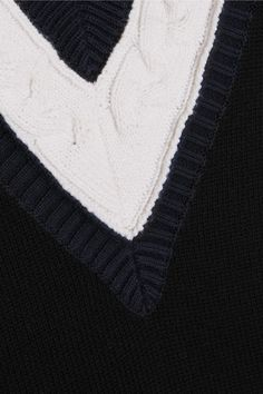 Victor Glemaud - Cable Knit-paneled Cotton And Cashmere-blend Vest - Navy - x small