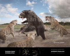 Arctodus simus and Smilodon fatalis by Rom-u.deviantart.com on @DeviantArt