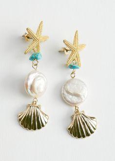Gold Drop Earrings, Chain Earrings, Pearl Earrings, Eyes Emoji, Pearl Beach, Shell Pendant, Beach Jewelry, Fashion Rings, Jewelery