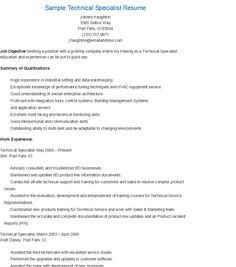 sample technical specialist resume
