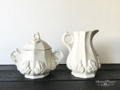 Vintage White Ironstone Creamer and Sugar Bowl Set-Red Cliff Ironstone, French Country Shabby Chic Fine China Farmhouse