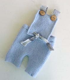 Little Boy Blue Romper made from Italian Boiled Wool with wooden buttons  **Example of baby wearing it on post!