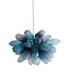 Illuminated crystal cluster sculpture in handblown blue glass.