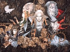Castlevania symphony of the night art by Ayami Kojima (a Japanese game and concept artist who is best known for her work on the Castlevania series of video games with Konami)