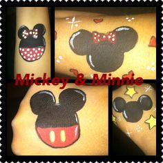 Mickey & Minnie cheek art -- could turn these images into balloons simply by adding 'strings' Minnie Mouse Face Painting, Disney Face Painting, Face Painting For Boys, Christmas Face Painting, Face Painting Designs, Miki Mouse, Comic Face, Cheek Art, Mickey Y Minnie