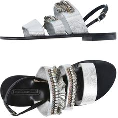 Nanni Sandals ($135) ❤ liked on Polyvore featuring shoes, sandals, silver, ankle strap sandals, flat sandals, leather sole shoes, buckle sandals and leather sole sandals