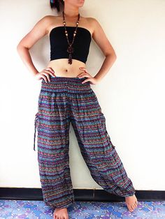 Your place to buy and sell all things handmade Gypsy Pants, Hippie Pants, Boho Pants, Hippie Boho, Bohemian Style, Red Trousers, Trouser Pants, Trousers Women, Maxi Pants