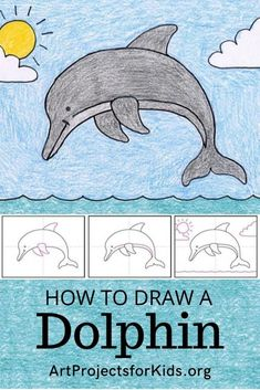 Draw a Dolphin · Art Projects for Kids Dolphin Drawing, Dolphin Painting, Painting For Kids, Art For Kids, Kid Art, Dot Painting, Drawing Lessons For Kids, Easy Drawings For Kids, Art Lessons