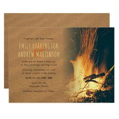 Sand and Fire Bonfire Beach Wedding Invitations