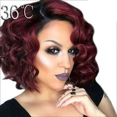 96.90$ Buy now - http://alissn.worldwells.pw/go.php?t=32695136167 - 2017 Sexy Wavy Bob Style 1B 99J Ombre Full Lace Wig Burgundy Two Tone Lace Front Wig Glueless Human Peruvian Virgin Hair Wig 96.90$