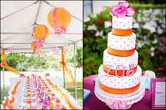 4 tier pink and orange cake.