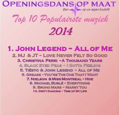 Top 10 favorite first dance songs...by Openingsdans op Maat