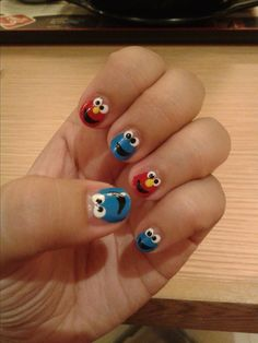 My Sesame Streets nails <3 Elmo and Cookie Monster om nom nom nom | nail art for short nails :D