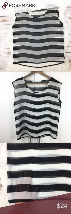 """Sheer Striped Blouse Sheer, striped top. Black and white. Sleeveless. Round neck. Gauzy fabric. Loose, boxy fit. 100% Polyester. Measurements on one side when laid flat: Length about 22"""" from top of shoulder to hem. Underarm to underarm about 19.5"""". Hem is 18.5"""" wide. In excellent condition - some loose threads here and there. Gibson Tops Blouses"""
