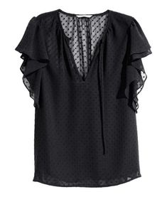 Black. Straight-cut, V-neck blouse in textured-weave chiffon with decorative gathers at neckline. Short ruffled sleeves. Lined front section.
