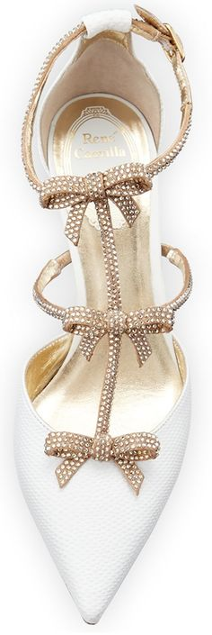 FashionShoes | ShoeAddict | ColorDesire White | Rosamaria G Frangini || Rene Caovilla Crystal Bow-Embellished Karung Low-Heel Pump