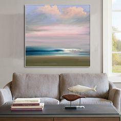Minimalistic Blue Ocean Sky Large Abstract Wall Art by ArtCAStudio