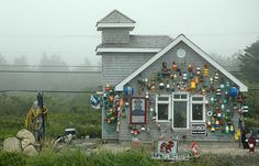 If anything can be said about the East Coast, they are proud of their culture! While we wouldn't suggest decorating your house like this tack shop, a couple buoys here and there are a great way to express your East Coast style. Lunenburg Nova Scotia, East Coast Style, Canadian Travel, Cape Breton, Cottage Style Homes, New Brunswick, West Coast, New England, Canada