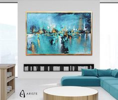 This extra large wall art will beautifully complement an interior with blue or gold decor elements. Horizontal composition and size make it perfect addition for a living room, bedroom, or dining room. This item is fully handmade, painted with acrylic paints on canvas, varnished, signed and dated. I