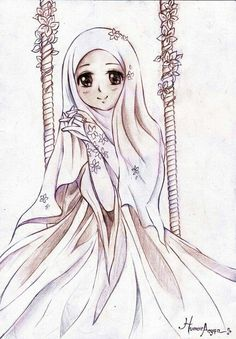 """Suffice I Love himself in Silence """"Humaira Asyifa"""" Truly I love you because of religion that exist in you. Let my silence a thousand language gives the . Suffice I Loved Himself in Silence Hijab Drawing, Portrait Cartoon, Islamic Cartoon, Girly M, Hijab Cartoon, Islamic Girl, Islamic Pictures, Abstract Watercolor, Cartoon Art"""