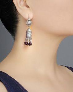 Buy Fabindia Silver Ananya ES 1788 Dangle Earrings-Blue/Silver Online- Fabindia.com