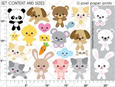 Kawaii Animals NEUTRAL COLORS Clip art and by pixelpaperprints