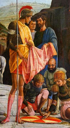 Andrea Mantegna, Crucifixion -- (they are castling lots for Christ's robe) Italian Renaissance Art, Renaissance Artists, Renaissance Paintings, European Paintings, Classic Paintings, Italian Painters, Italian Artist, Sculpture Romaine, Andrea Mantegna