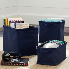 Navy Store-it Canvas Bin Collection #pbteen