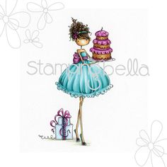 "Stamping Bella Uptown Girl """"Ava Loves to Celebrate"""" Rubber Stamp"